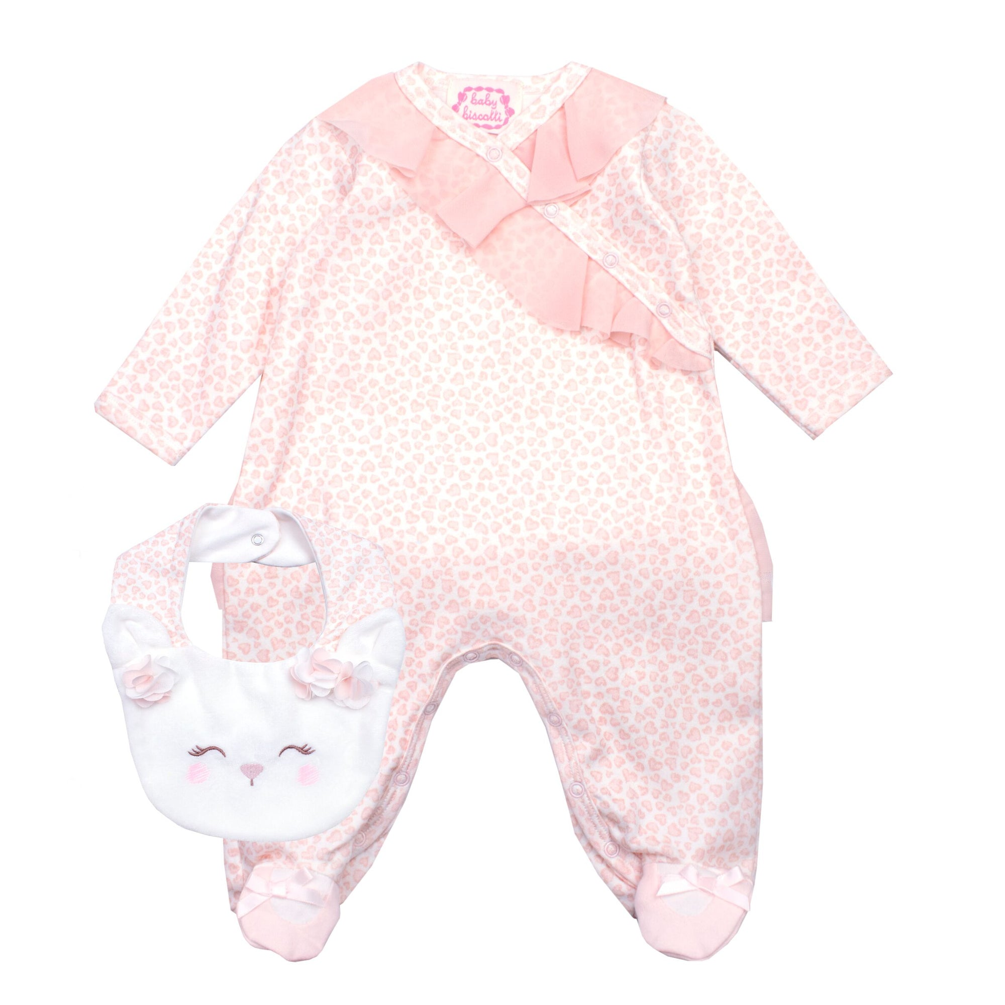 Baby Girls Peach Babygrow & Bib Set