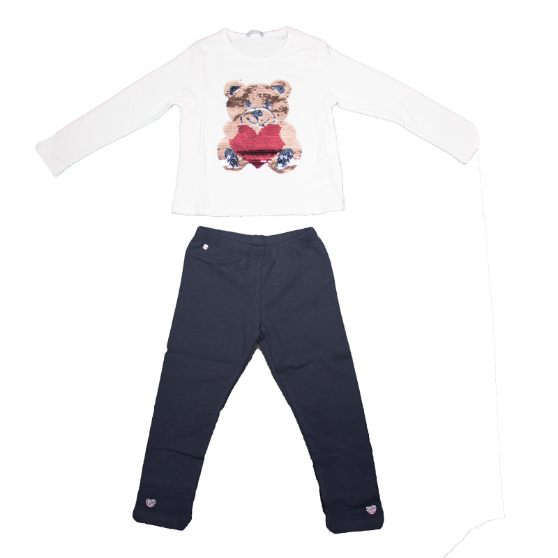 Girls Ivory & Navy Cotton Set