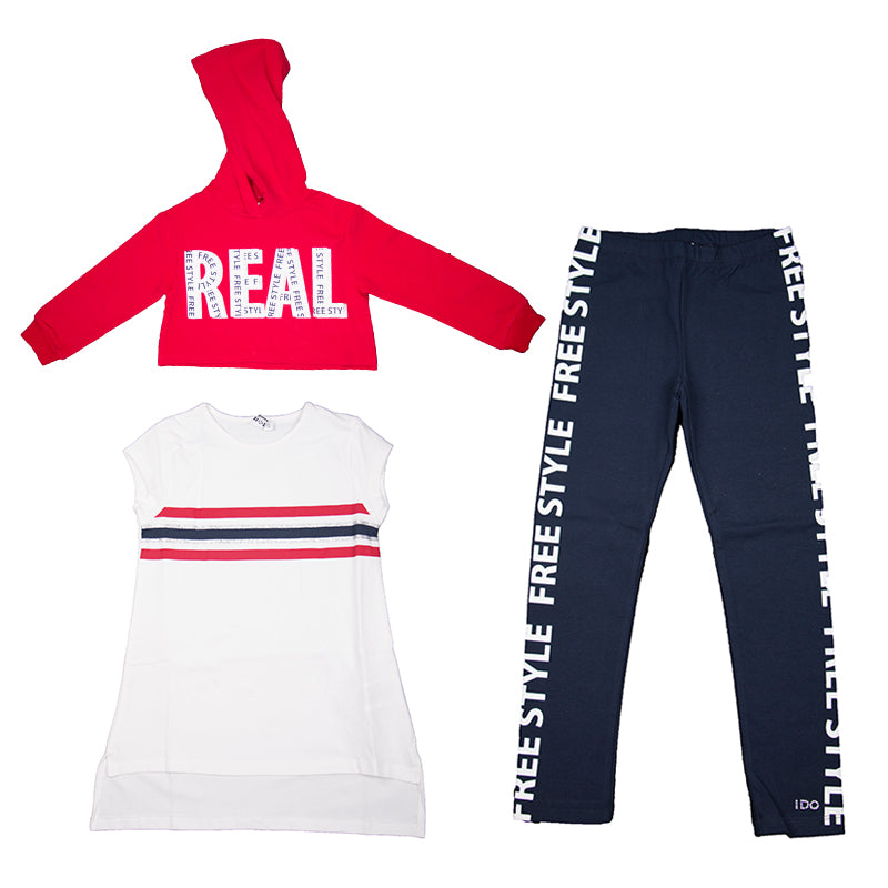 Girls Navy White & Red Three Piece Set
