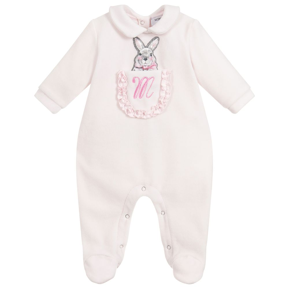 Baby Girls Pale Pink Babygrow