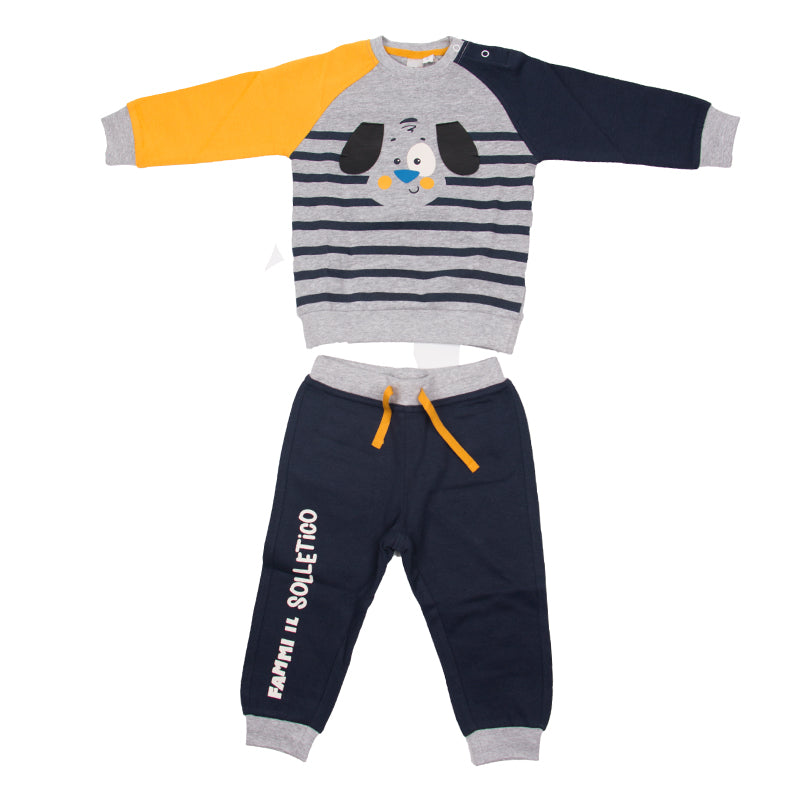 Baby Boys Navy & Yellow Tracksuit