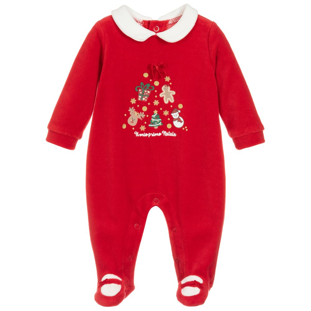 Baby Girls Red Festive Babygrow