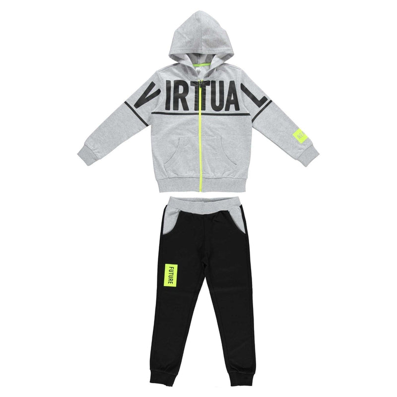 Boys Grey & Black Tracksuit - Junior Couture