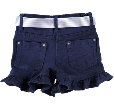 Girls Blue Cotton Shorts - Junior Couture