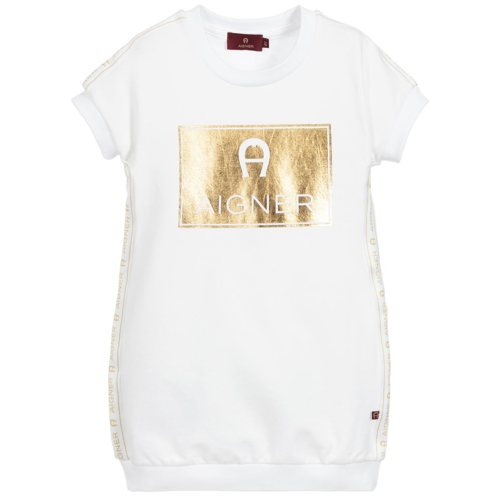 Girls White & Gold Cotton Logo Dress