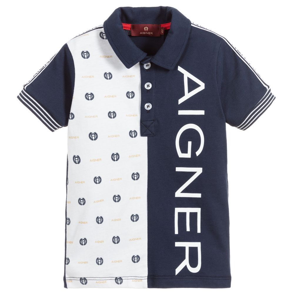 Boys Navy Blue & White Polo Shirt