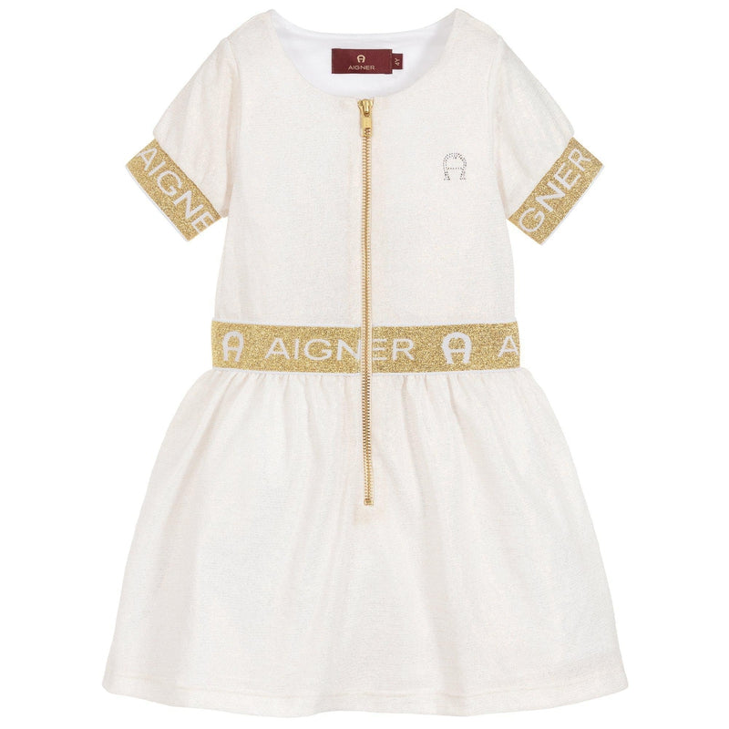 Girls Ivory & Gold Logo Dress