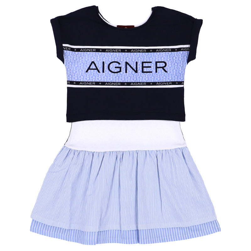 Girls Blue Two Piece Logo Dress