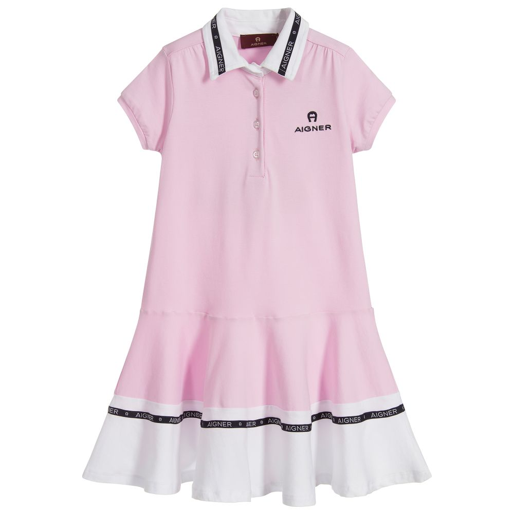 Girls Pink Logo Polo Dress