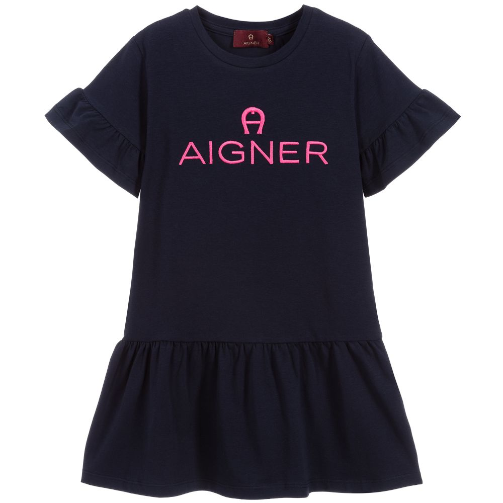 Girls Navy Blue Logo Dress