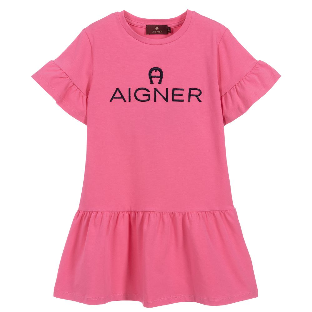 Girls Pink Logo Dress