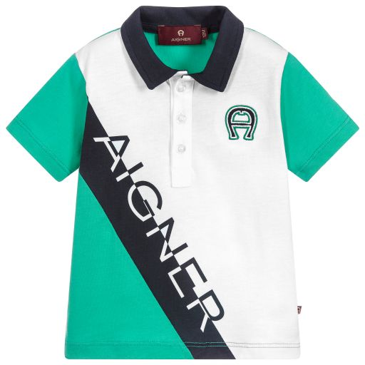 Boys Green Logo Polo Shirt