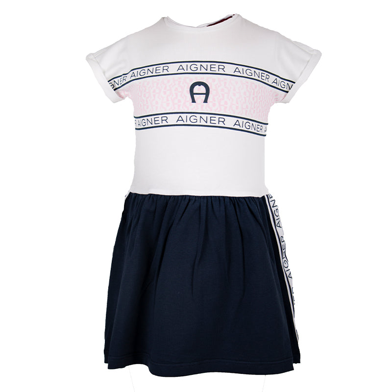 Baby Girls White & Navy Dress