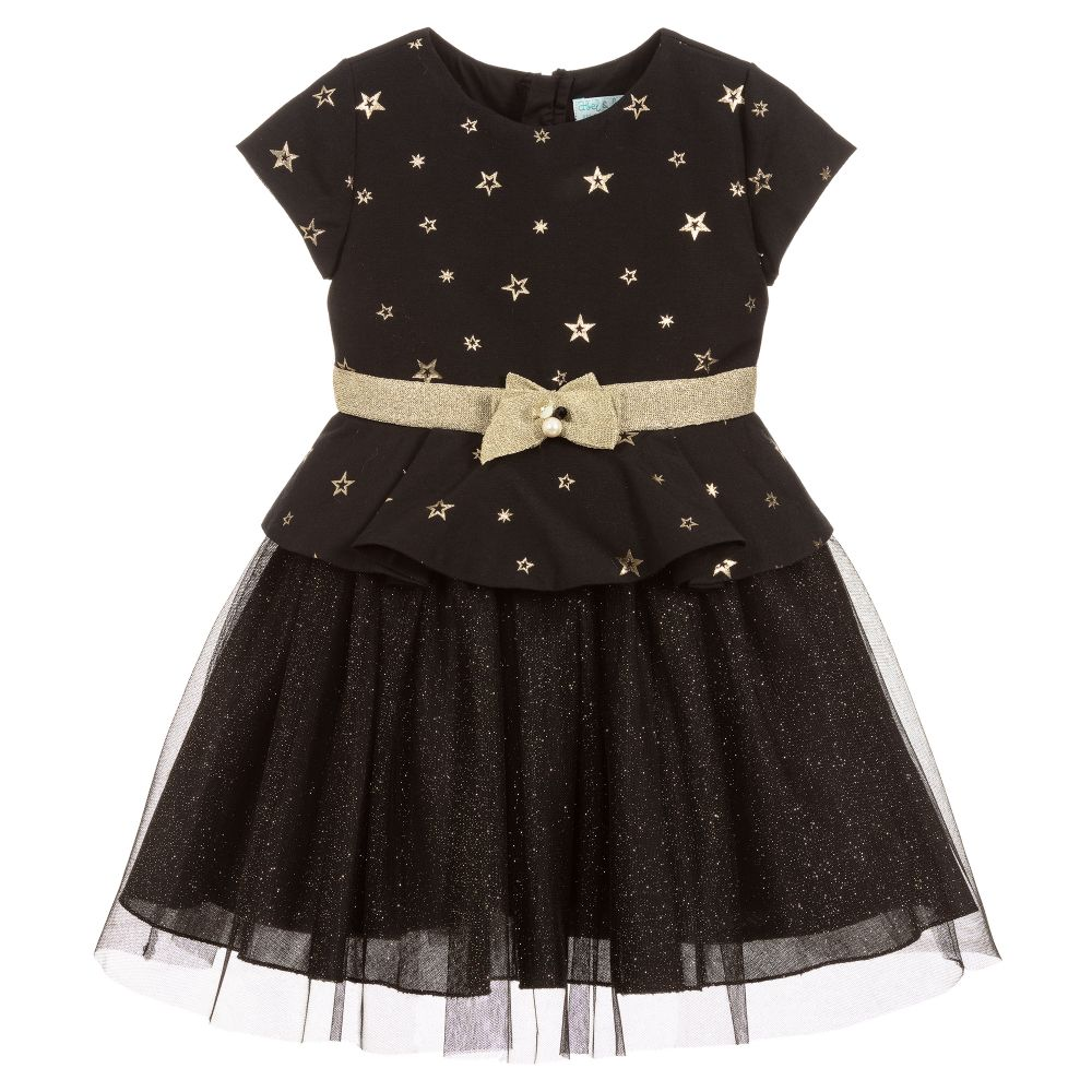 Girls Black & Gold Dress