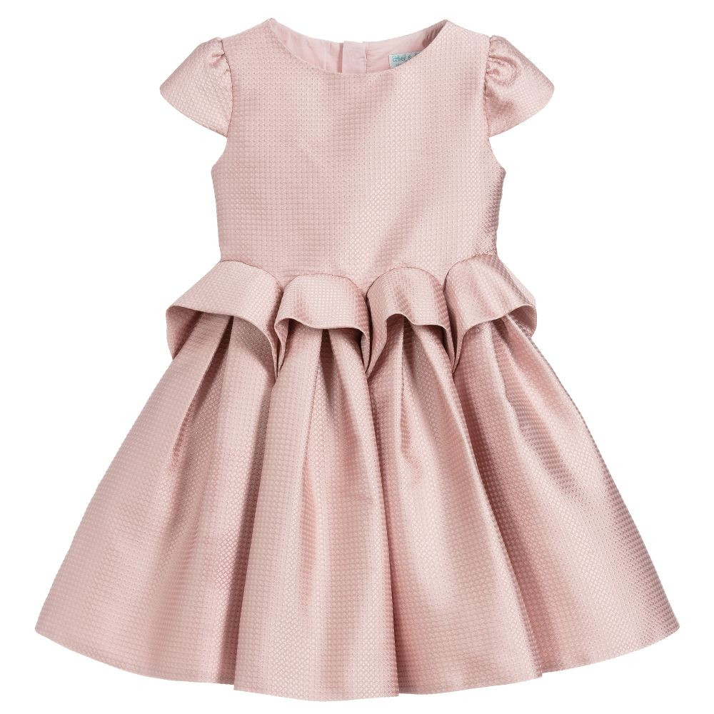 Girls Pink Satin Dress