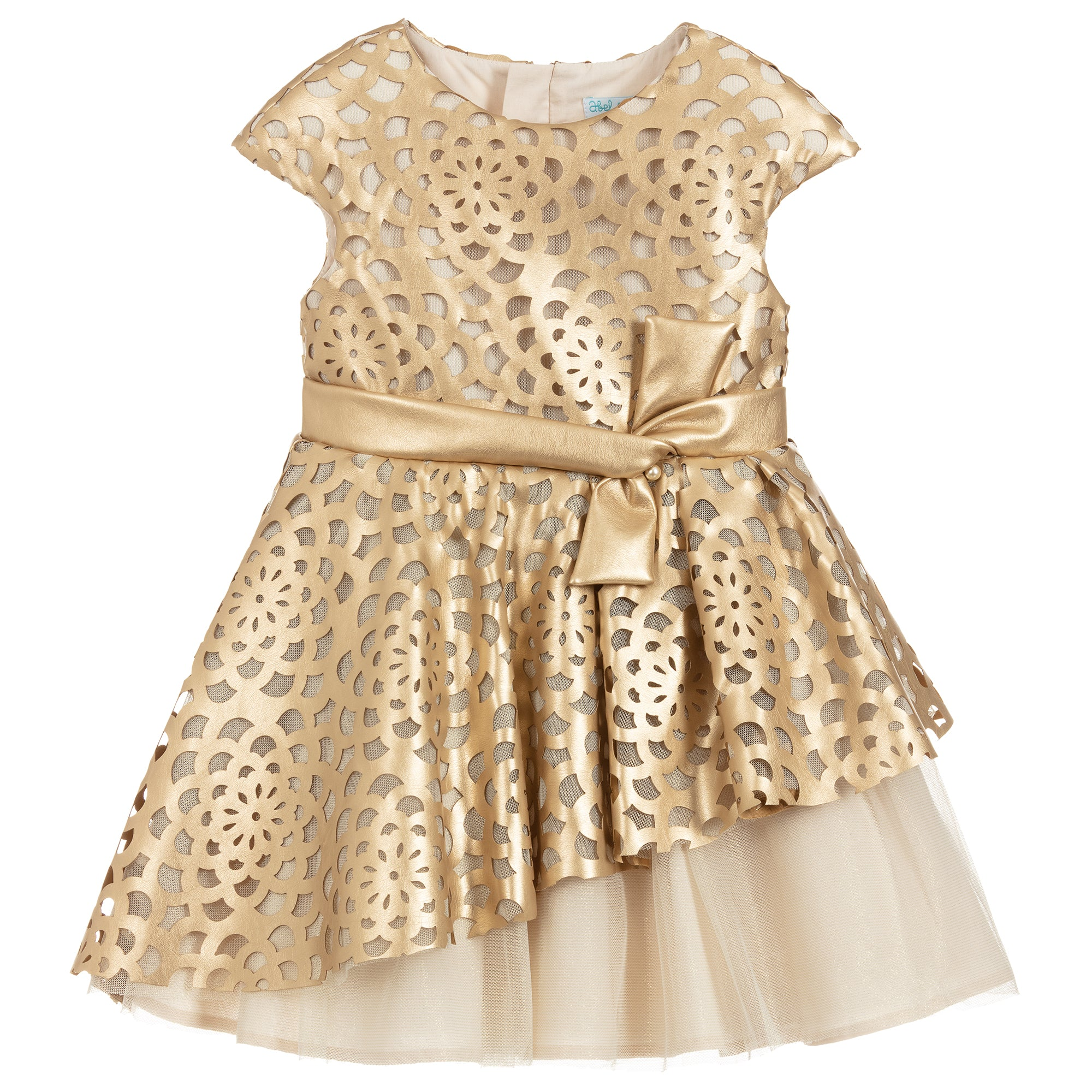 Girls Gold & Ivory Tulle Dress