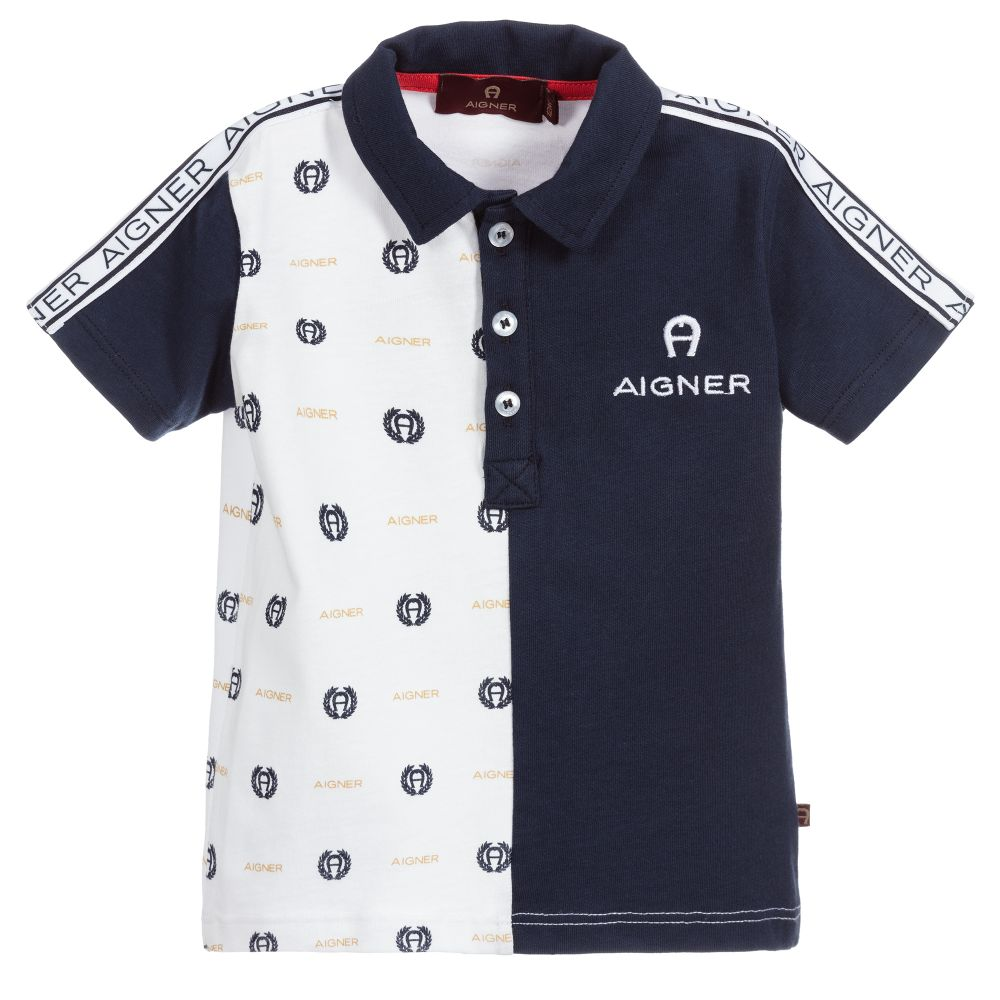 Baby Boys Navy Blue & White Polo Shirt