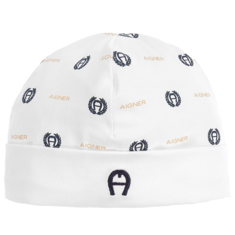 Baby Boys White Cotton Hat