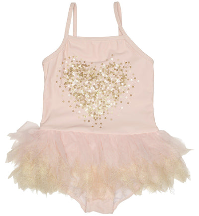 Girls Pink & Gold Tulle Swimsuit - Junior Couture