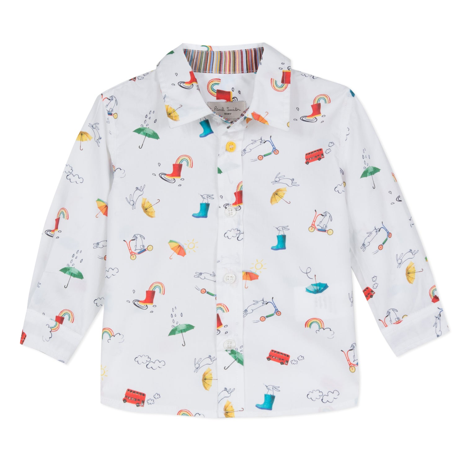 Baby Boys White Printed Shirt