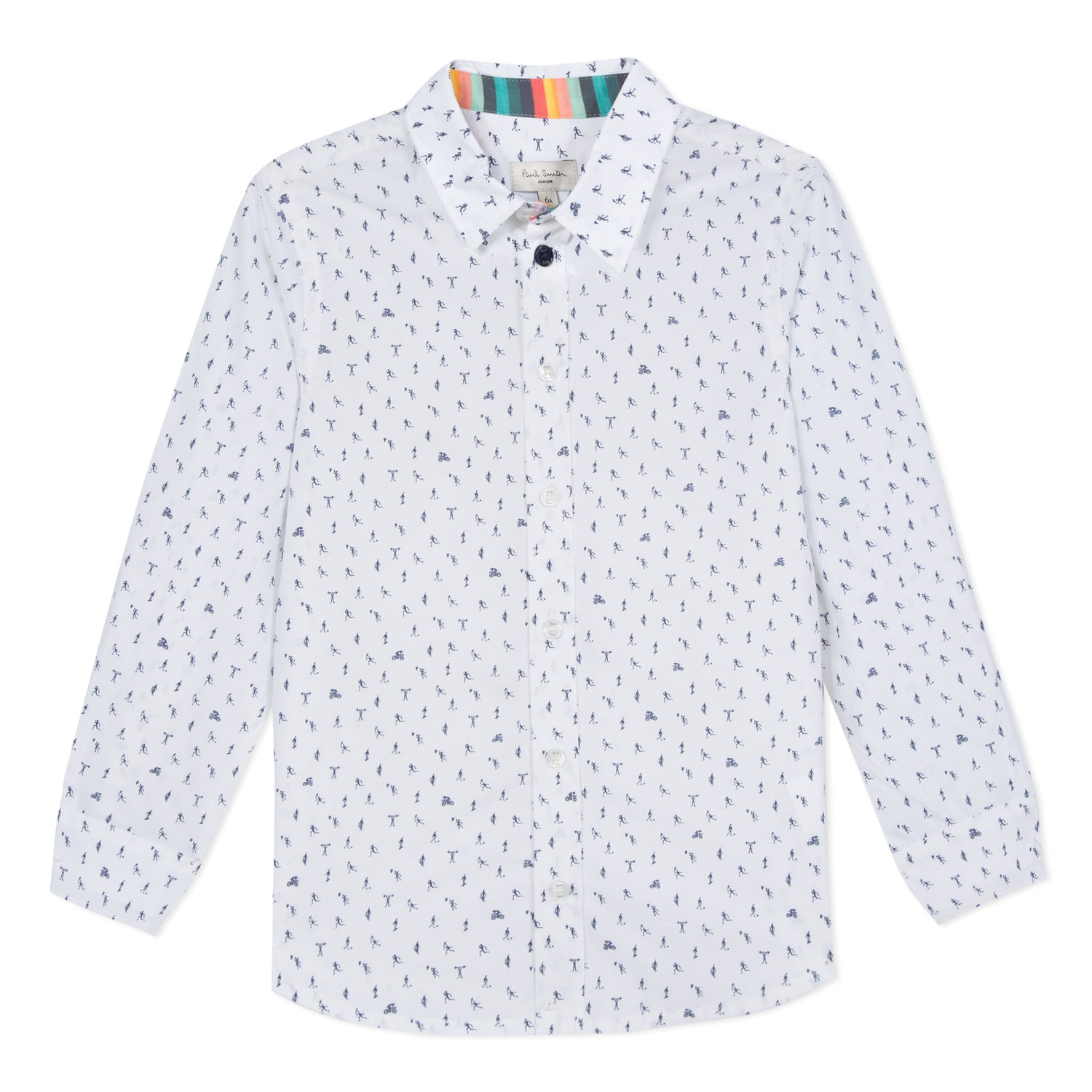 Boys White Printed Shirt