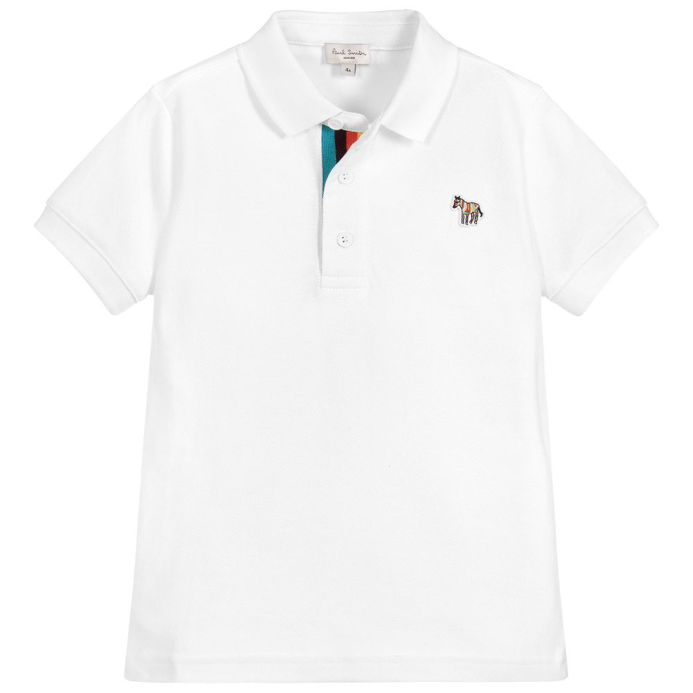 Boys White Logo Polo Shirt