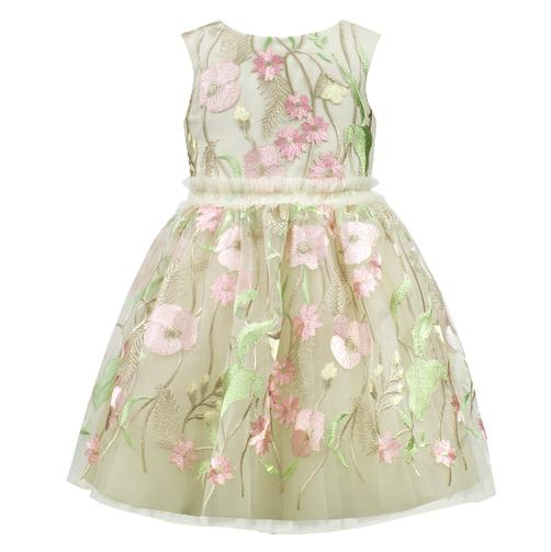 Girls Flower Embroidered Tulle Dress