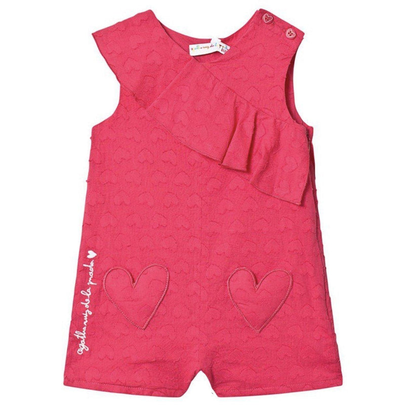 Girls Pink Heart Playsuit