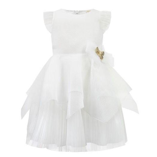 Girls White Butterfly Party Dress