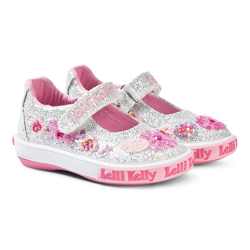 Girls Silver and Pink Glitter Shoes