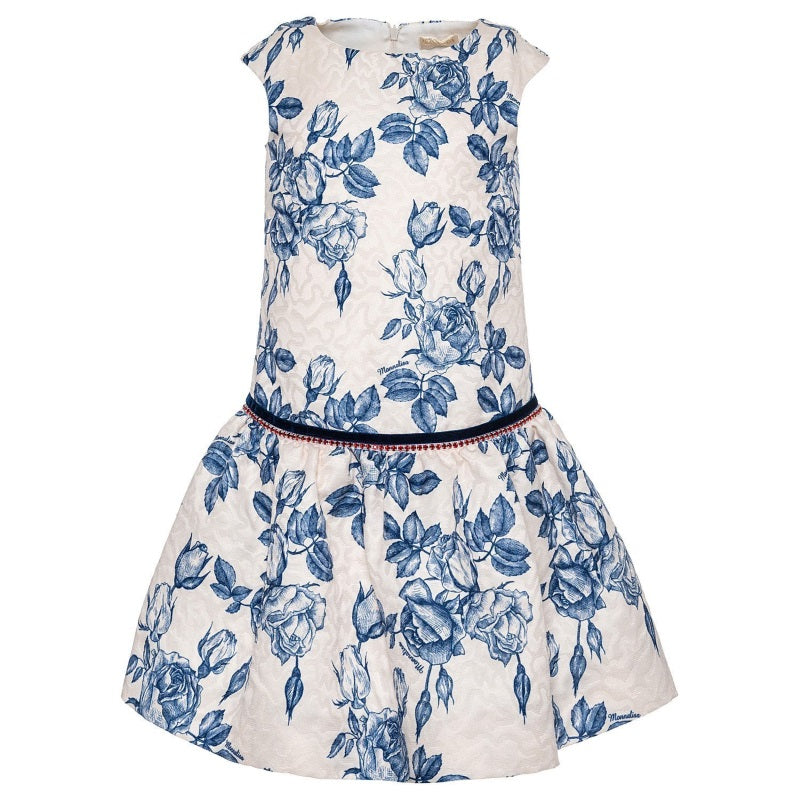 Girls Ivory & Blue Floral Dress