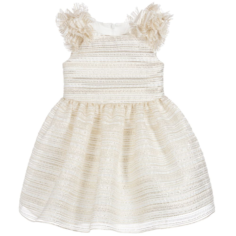 Girls Ivory & Gold Special Occasion Dress