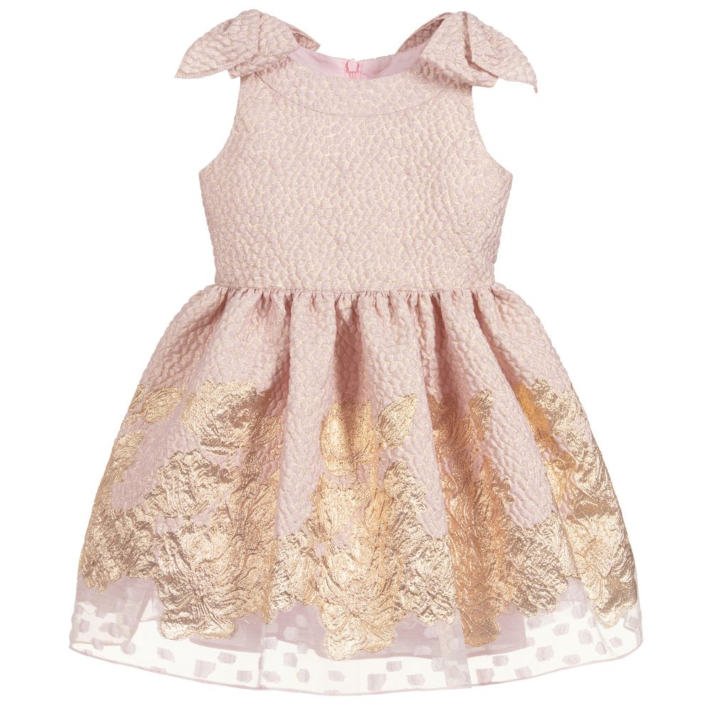 Girls Pink & Gold Special Occasion Dress