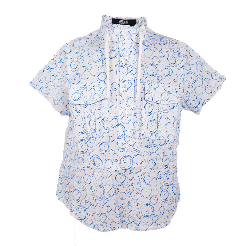 Boys White & Blue Shirt