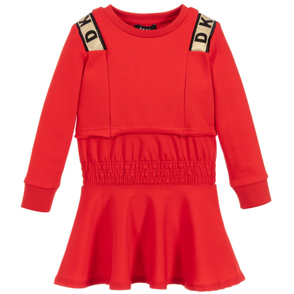 Girls Red & Gold Logo Dress