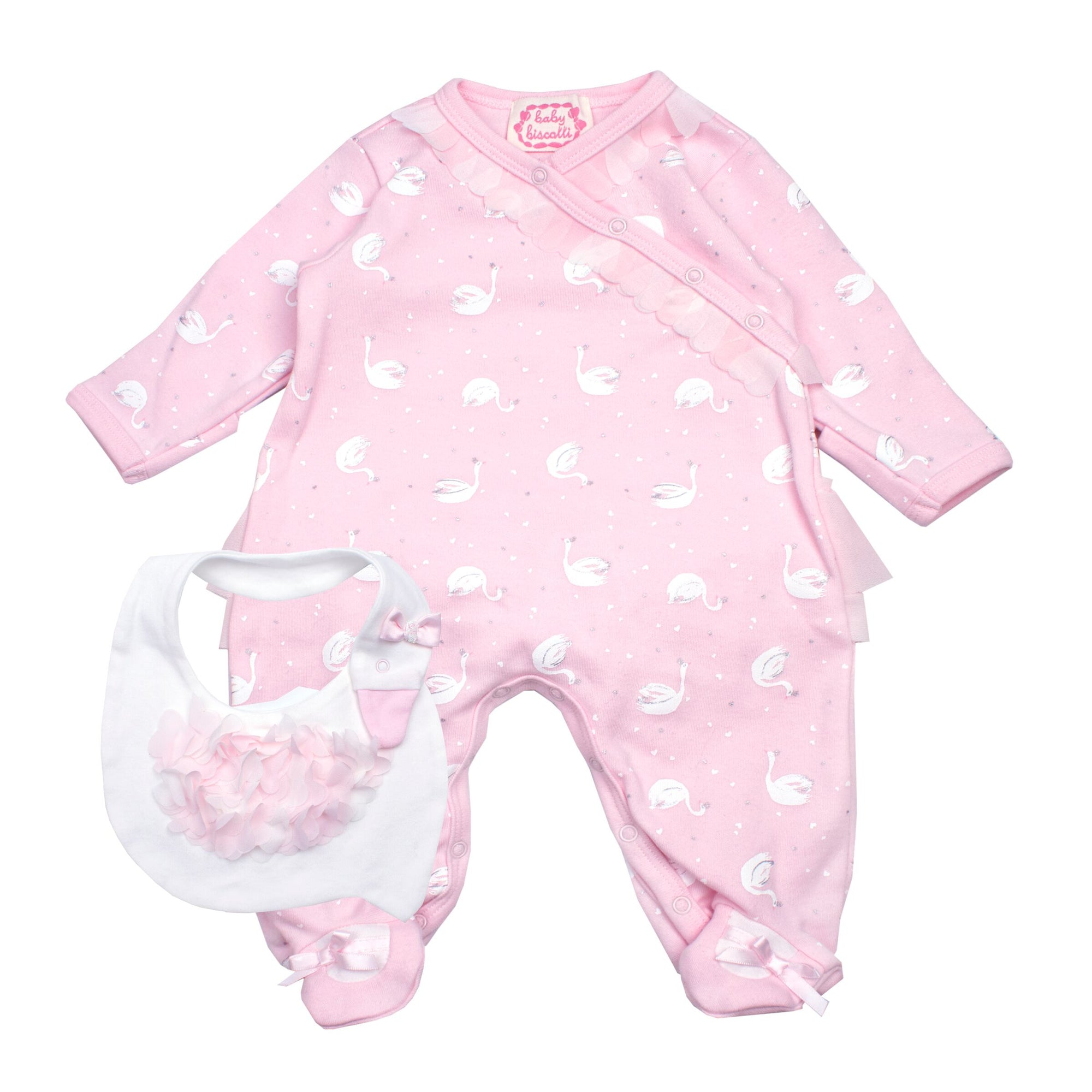 Baby Girls Pink Babygrow & Bib Set