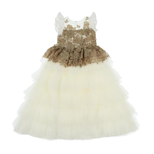 Girls Ivory Gold Occasion Dress