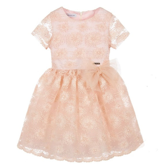 Girls Blush Pink Embroidered Dress