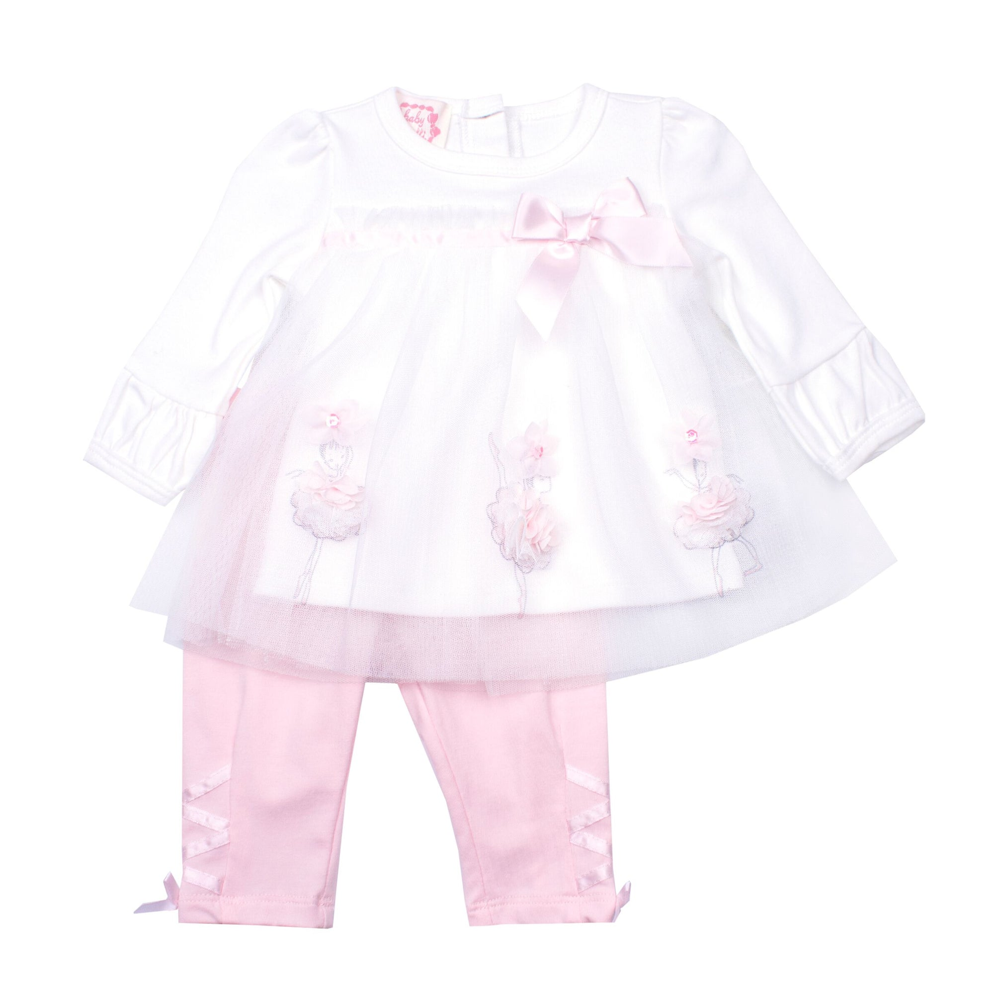 Baby Girls Pink & White Leggings Set