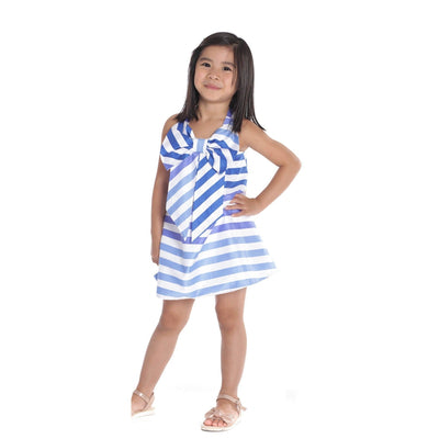 Girls Blue & White Bow Dress - Junior Couture