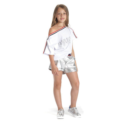 Girls  Off White Embellished T shirt - Junior Couture