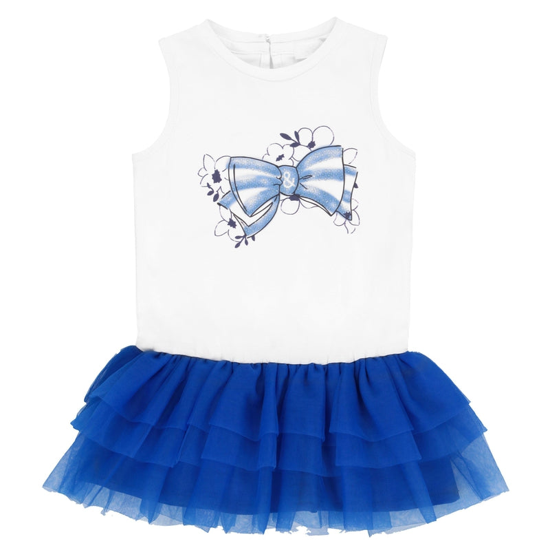 Baby Girls White & Blue Bow Dress