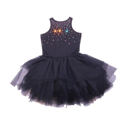 Girls Black Carrie Crystal Dress - Junior Couture