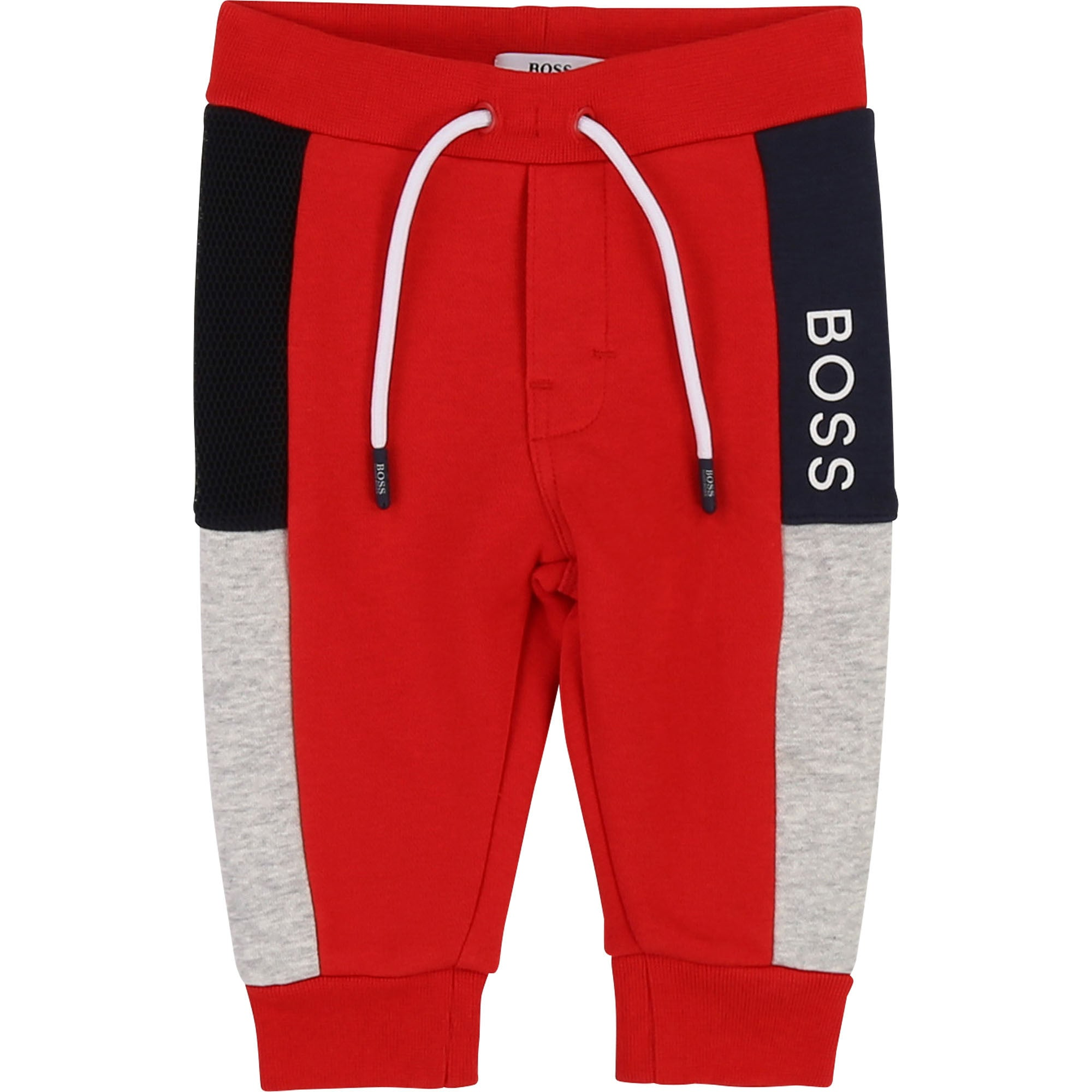 Boys Red Cotton Logo Joggers