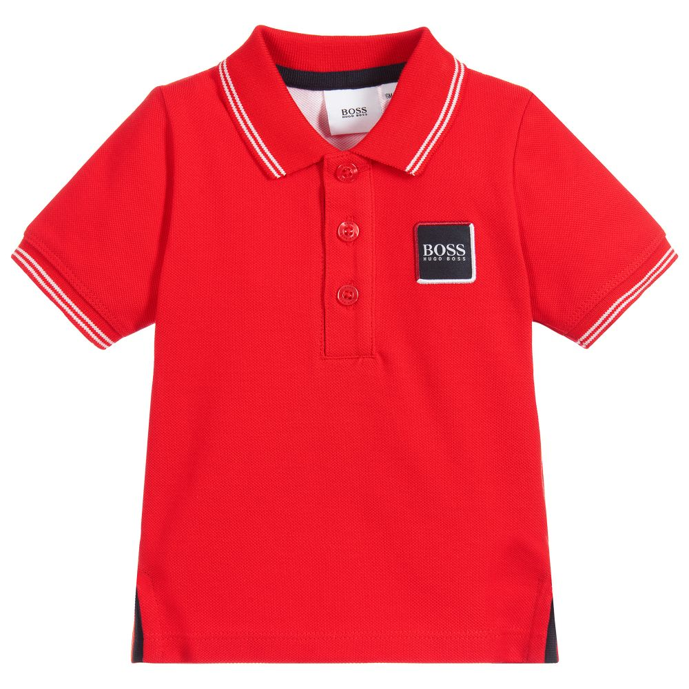 Baby Boys Red Cotton Logo Polo Shirt
