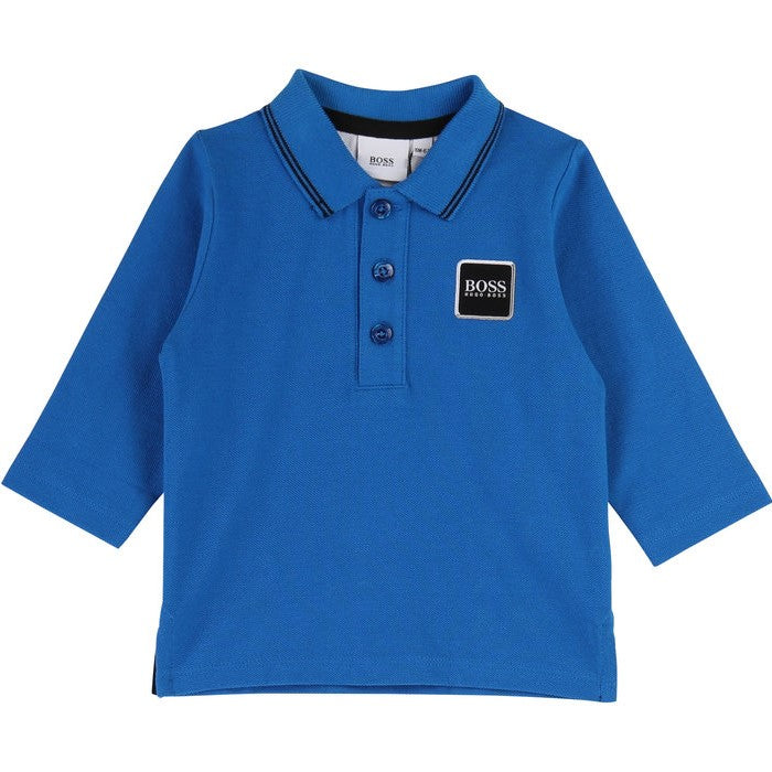 Baby Boys Blue Long Sleeve Polo Shirt