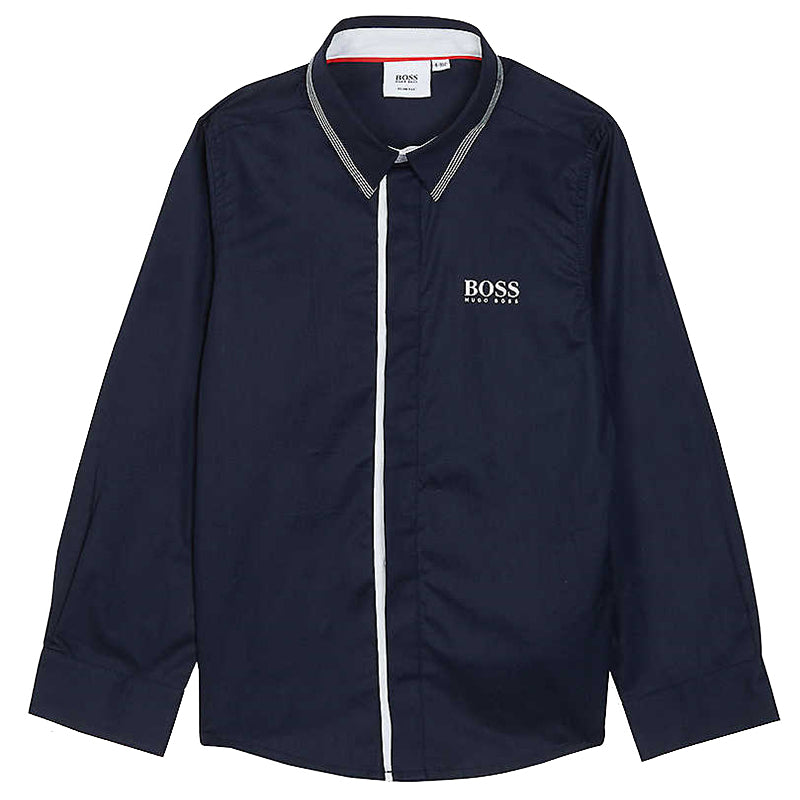 Boys Navy Long Sleeve Shirt