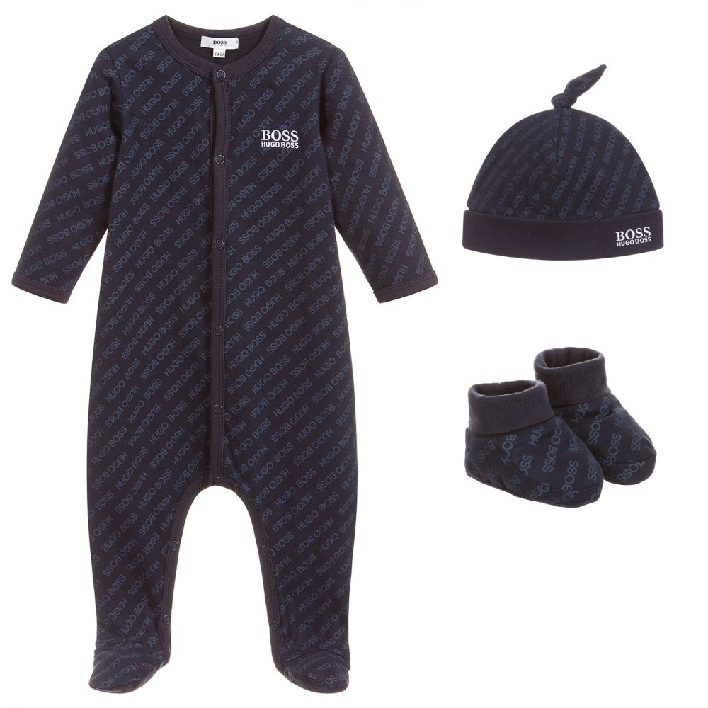 Baby Boys Navy Blue Babygrow Gift Set