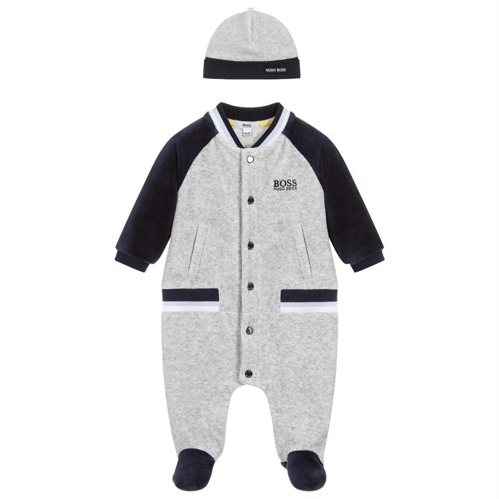 Baby Boys Grey & Navy Babygrow Gift Set