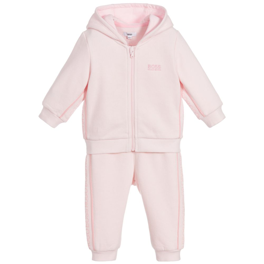 Baby Girl Pink Jersey Tracksuit